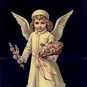 """Large 10"""" Christmas Winter Angel, Pink Flowers, Victorian Die Cut"""