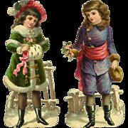 """Winter Children, Two 6"""" Victorian Die Cuts"""