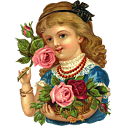 Large Victorian Die Cut, Girl with Roses