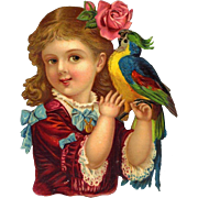 Victorian Die Cut, Girl in Red Dress with Parrot