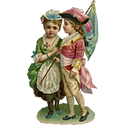 Girl and Boy in French Style Costume, Flag, Hats Large Victorian Die Cut