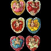 Cherubs Pop Out of Flower Hearts, 6 Victorian Die Cuts