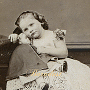 "1864 Little Girl ""Constance Emily"" Cuddles Early Wax Over Mache Doll, CDV Photo"
