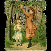 Victorian Girls in Woods Vignette Die Cut #2