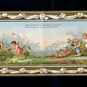 c. 1880 Marcus Ward Christmas Card, Tiny Garden Fairies