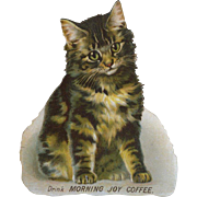 "5"" Cat Advertising Morning Joy Coffee Die Cut, Uncommon Victorian Trade Card"