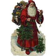 Large 12 inch Santa with Toys Victorian Die Cut, Embossed