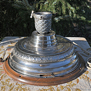 Early 1900s Mechanical Hand Crank-Wind Christmas Tree Stand Swiss Music Box, Silent Night & O Sanctissima