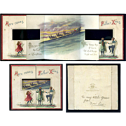 Misch & Co. Fold Out Christmas Card, Children Look Through Window at Father Xmas, Sleigh, Reindeer