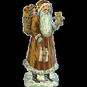 7.50 in. Die Cut Santa, Brown Robe, Holds Teddy Bear, WW1 Soldier Doll, Red Cross Nurse Dolls