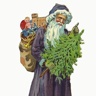 7.50 in. Die Cut Santa with Tree, Purple Robe, WW1 Era