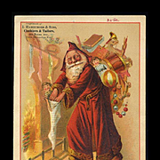 1890's Long Hooded Robe Santa Stuffs Kids Stockings, Large Trade Card, Hamburger Sons Clothiers