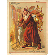 1890's Long Hooded Robe Santa Stuffs Kids Stockings, Large Trade Card, Hamburger Sons Clothiers