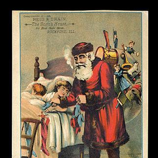 1890's Pipe Smoking Santa Stuffs Toys in Stockings As Kids Sleep, Large Victorian Trade Card, Rockford, ILL.