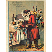 1890's Pipe Smoking Santa Stuffs Toys in Stockings As Kids Sleep, Large Victorian Trade Card, Rockford, ILL.