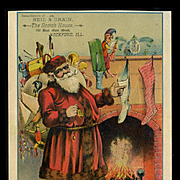 1890's Santa w Pocket Watch by Fireplace, Toys, Punch, Stockings, Snoozing Cat, Large Trade Card, Scotch House, Rockford, ILL.