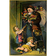 c 1880 Children Clamor Over Early Santa with Toys, Ridley & Sons, NY Large Victorian Trade Card