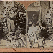 1897 Stereoview, Santa Claus Caught in the Act, Decorating Tree, Dolls