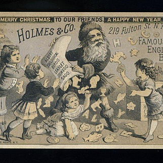 1880 Holmes Biscuit Co, NY Santa in Long Fur Jacket/Books, No Trousers, Pours out Cookies for Kids Victorian Trade Card