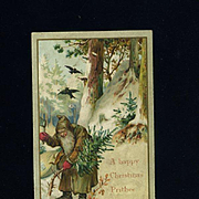 Early Christmas Card, Santa in Woods
