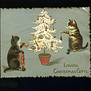 Kittens Decorate Christmas Tree, Embossed English Die Cut Card