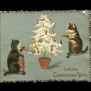 Kittens Decorate Christmas Tree, Embossed English Die Cut Card