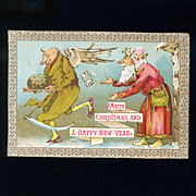 Father Time Runs Away with Father Christmas' Plum Pudding, Humorous English Card c. 1880s