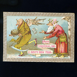 Father Time Runs Away with Father Christmas' Plum Pudding, Humorous English Card c. 1880s