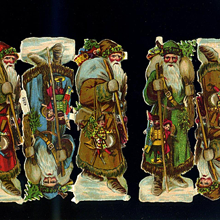 """Set of 5 Victorian Santa Claus Die Cuts, 5"""" Tall, Never Used"""
