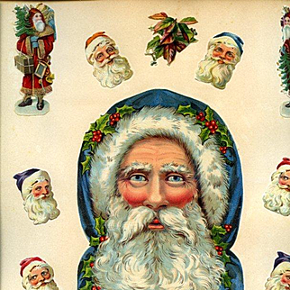 Unusual Large Santa Claus Head, Victorian Scrapbook Page with Smaller Santa Figures / Heads