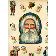 Unusual Large Santa Claus Head, Victorian Scrapbook Page with Smaller Santa Figures / Heads