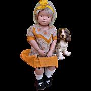 """16"""" Schoenhut Doll and Pet Pup"""