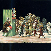 c.1890s Dogs Attend Punch & Judy Show Victorian Die Cut