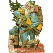 Uncommon Santa Claus in Blue with Toys, Victorian Die Cut -- AS IS