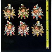 Set of 6 Girl Heads with Clown or Jester Collars with Bells, Victorian Die Cuts #14