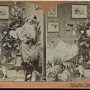 1897 Stereoview, Santa Claus Looks Back at Sleeping Child, Has Her Doll, Decorated Tree