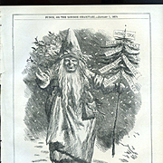 1870 Punch Magazine Father Christmas, Full Page Engraving