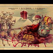 c. 1890s Large Victorian Trade Card, Santa in Swan Sleigh, Reindeer, Toys, M. A. Rehill, Pottstown