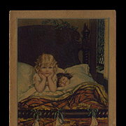 1920s Christmas Card, Little Girl Can't Sleep, Waits for Santa to Fill Stockings As Is