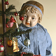 "1912 Elektra 32""  Composition Doll, Modeled After Coquette, Blue Molded Hairband, Wearing Child's Dress, HUGE Sweet Girl!"