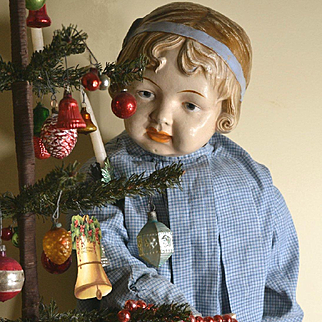 """1912 Elektra 32""""  Composition Doll, Modeled After Coquette, Blue Molded Hairband, Wearing Child's Dress, HUGE Sweet Girl!"""