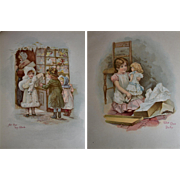 """c.1890s """"Toyland"""" Book, Large Format, 6 Chromolithos with Children and Dolls"""