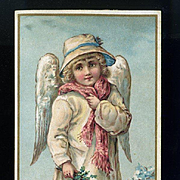 1880s Winter Angel Card with Scripture Motto