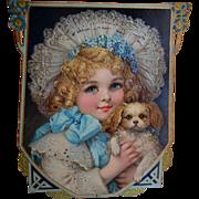 c.1890s Beautiful Child & Puppy, Huge Die Cut Calendar, Frances Brundage