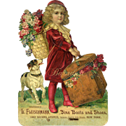 c.1900 Girl in Red Velvet Dress & Boots, Terrier Dog, Trunk with Roses, Die Cut Calendar
