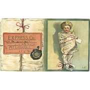 1898 Christmas Card from Mama, Shows  Doll Wrapped Up, Unusual