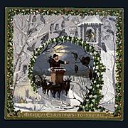 1881 Prang Christmas Card, Santa in Chimney, Reindeer, Snowy Scene, Buzzards Waiting