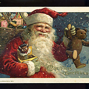 1914 Winsch Grinning Santa Has a Devil Jack-in-the-Box and Teddy Bear