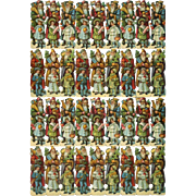 """Santa Claus with Children, Toys,  Doll Large 10 x 13 Sheet (36) Victorian Die Cuts (3.50"""" tall)"""