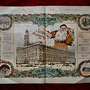 1896 Huge Christmas Advertising Page, Siegel-Cooper, New York, Santa, Holly, Largest Dept Store in World